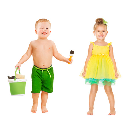 Happy Kids, Beautiful Children in Summer Clothing, Boy and Girl Toddlers One Year Old on White Banco de Imagens