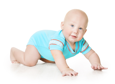 Crawling Baby, Infant Kid Crawl in romper on white background, Happy six months old Child