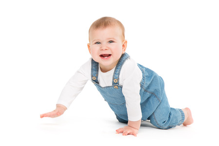 Crawling Baby, Infant Kid Crawl on white background, Happy One year old Child in Jeans