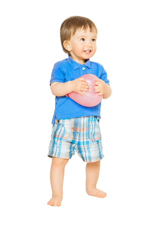 Baby Boy full length portrait, Happy Kid with Balloon on White Background, Child One Year Old