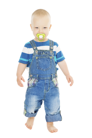 Baby Boy with Dummy full length, Happy Kid Walking, Child One Year Old portrait over White