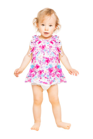 Baby Girl In Dress, Kid Standing Over White Background, Child One Year Old