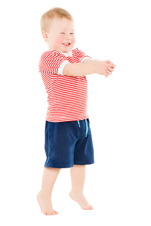 Baby Boy full length portrait, Happy Kid Standing on White Background, Funny Child One Year Old Banco de Imagens