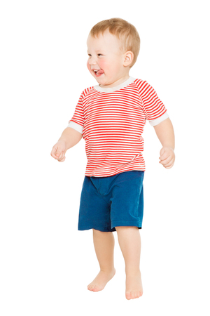 Baby Boy full length portrait, Happy Kid Standing on White Background, Child One Year Old