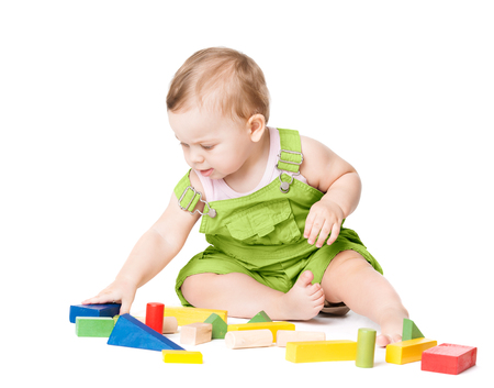 Baby Playing Toys Blocks, Kid Play with Colorful Building Bricks, One Year Old Child on White
