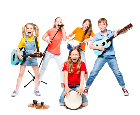 Children Group Playing on Music Instruments, Kids Musical Band over White Background