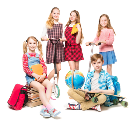 Children Going to Summer Camp, End of Education, Pupils Kids Group Isolated over White Banco de Imagens