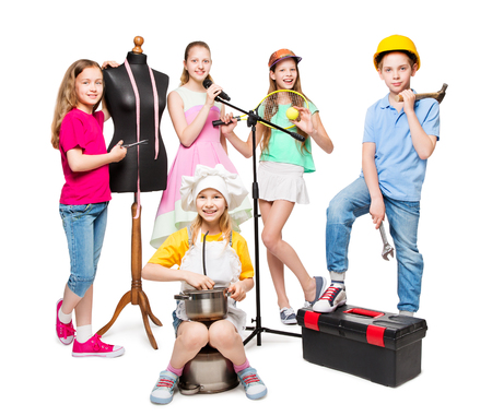 Profession and Job Occupation, Children Group in Professional Costumes, Kids Isolated on White Background