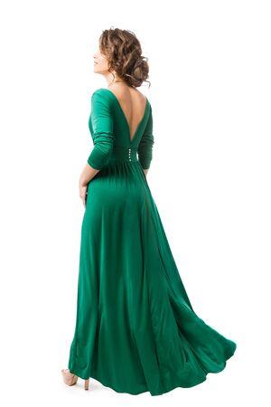 Fashion Model in Long Dress Back view, Woman Beauty in Gown Rear view, Full Length on White Banco de Imagens