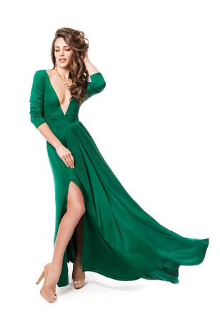 Fashion Model Green Dress, Woman Beauty Hairstyle Full Length Portrait on White, Long Fluttering Gown