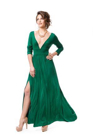 Fashion Model in Long Evening Dress, Woman Beauty Full Length Portrait in Gown on White Banco de Imagens