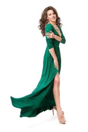 Fashion Model Long Dress, Woman Beauty Hairstyle Full Length Portrait on White, Long Fluttering Gown