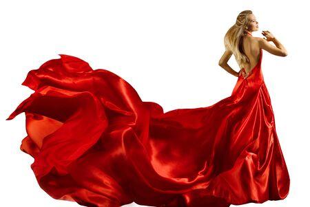 Mannequin longue robe rouge, femme en robe ondulante, portrait de beauté pleine longueur sur blanc