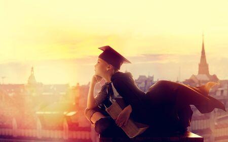 Child in Master Graduation Hat Flying City, Smart School Kid Adventure Fantasy and Imagination Фото со стока