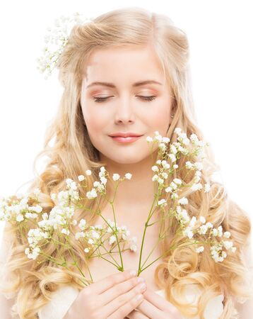 Woman Beauty Portrait with White Flowers, Young Model Face Hair Care, Happy Dreaming Girl on White