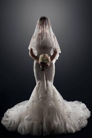 Wedding Bride in Veil on face, Elegant Lady in Luxury Bridal Dress, Studio Portrait Standard-Bild