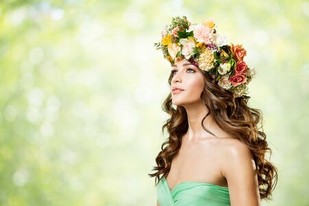 Woman Flower Wreath Hat, Beautiful Fashion Models with Roses Flowers in Hairstyle, Side View Portrait on Green Background