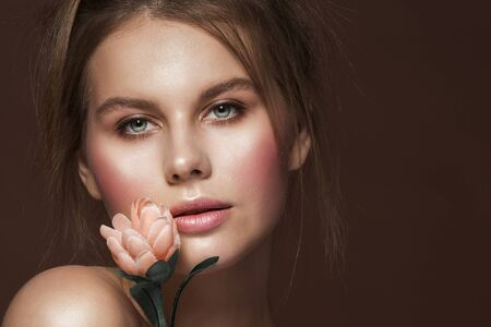 Woman Fashion Beauty Make Up, Beautiful Girl Face and Flower, Wet Makeup