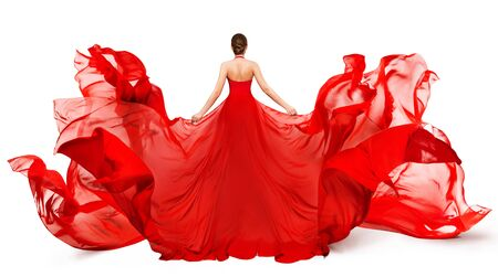Woman Back Rear view in Red Flying Dress Fluttering on Wind, Girl in Blowing Waving Gown Clothes on White Reklamní fotografie