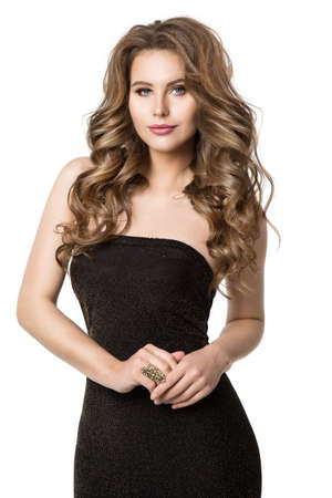 Beautiful Woman Hairstyle and Makeup Beauty Portrait in Black Dress, Elegant Lady in Sexy Gown, Fashion Model on White Background