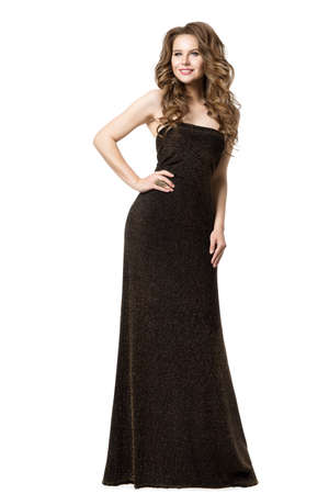 Elegant Woman in Black Long Dress, Beautiful Lady in Evening Gown, Fashion Model Beauty Portrait on White Banque d'images