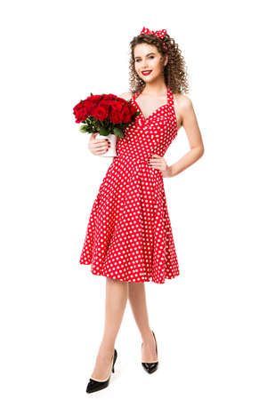 Woman Red Polka Dots Dress with Flowers Roses Bouquet, Beautiful Fashion Model Beauty Portrait on white