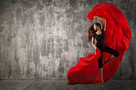 Woman Dance with Red Silk Fabric, Modern Sport Ballet Dancer and Fluttering Waving Cloth, Dancing Girl Studio Portrait