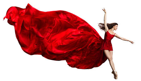 Ballerina Jump in Red Flying Silk Dress, Ballet Dancer in Pointe Shoes, Fluttering Waving Cloth, Isolated White Background Banco de Imagens