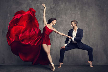 Dancing Ballet Couple, Beautiful Woman in Red Dress and Man in Suit, Ballerina in Flying Waving Fabric