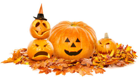 Halloween Pumpkin Smiling Face on Autumn Maple Leaves, Fall Concept, Isolated White Background