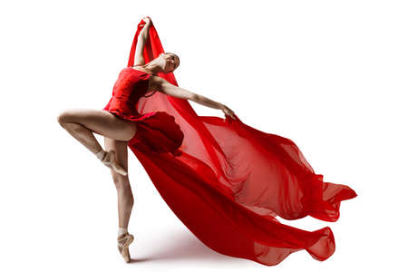 Ballerina Jumping in Pointe Shoes with Flying Red Cloth, Modern Ballet Dance, Isolated White Background
