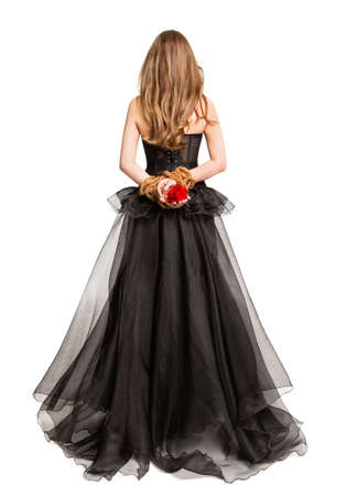 Gothic Woman in Black Dress Back Rear View, Flower Rose in Hands Tied By Rope, Cut out White Studio Background
