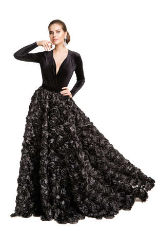Fashion Woman in Black Dress, Elegant Beautiful Model in Long Evening Gown over Cut out White Background Banco de Imagens