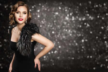 Retro Fashion Model in Black Dress Fur, Glamour Wave Hairstyle Makeup, Beauty Woman Portrait, Studio Dark background