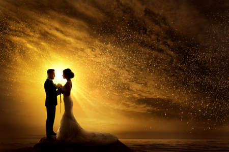Wedding Couple Silhouette. Bride and Groom over yellow Sunshine Sunset. Romantic Couple at Night Sky Stars Landscape