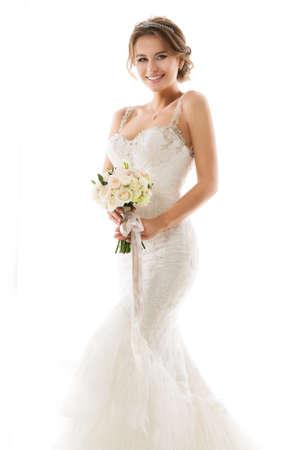 Bride Wedding Dress holding Flower Bouquet. Bridal Beauty Woman Fashion Portrait. Isolated White Background