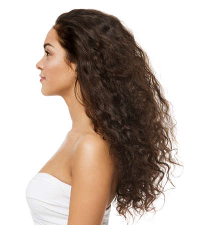 Black Curly Hair Latin Model Profile Side View Isolated White Background. Beauty Woman Afro Curls Hairstyle. Brunette Girl with Long Wavy Hair