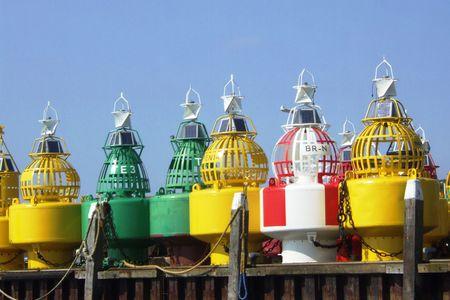 buoys: buoys in a row Stock Photo
