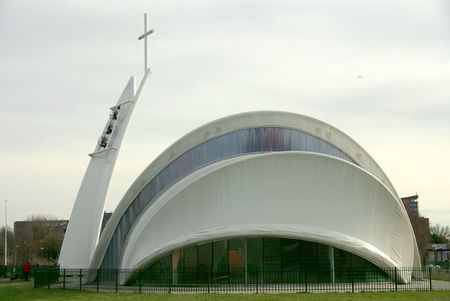 tensile: modern church built with a tensile structure and a membrane roof