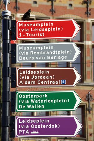 touristic: Amsterdam touristic street signs