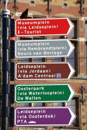 Amsterdam touristic street signs