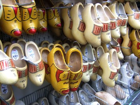 painted wooden shoes in a shop photo