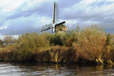 peace risk: reed in front of a polder mill