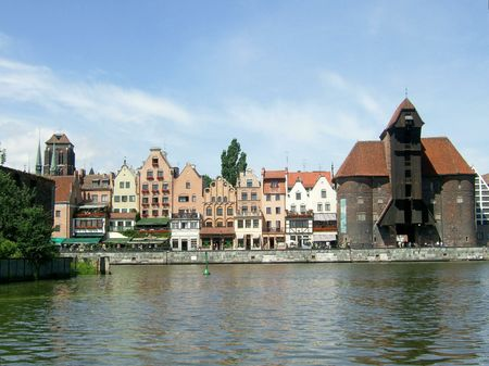 Waterfront with famous crane in Gdansk, Poland Stock Photo