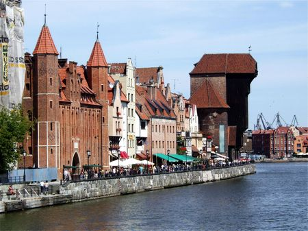 waterfront in Gdansk, Poland, with the characteristic crane photo