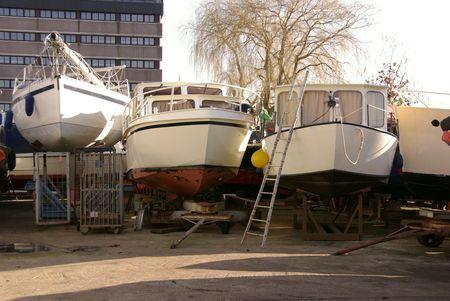 ashore: boats ashore in winter Stock Photo