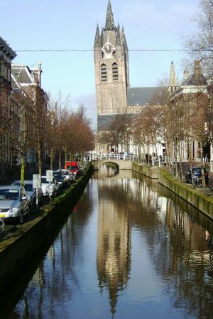 church reflected in a canal Stock Photo - 2736104