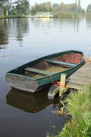 rowing-boat in a canal Stock Photo
