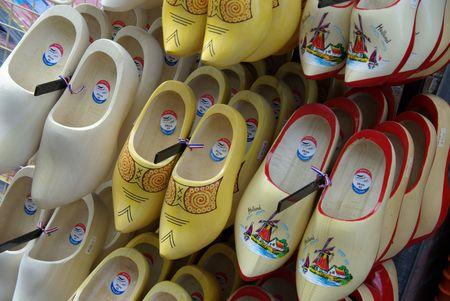 wooden shoes in a souvenir shop photo