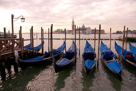 Gondolas in their berth in Venice, Italy